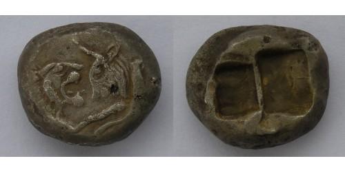 Лидия, Сарды. Цари Лидии. AR статер 550/39-520 гг. до Р.Х. Вес 10,83 грамма. Редкий.