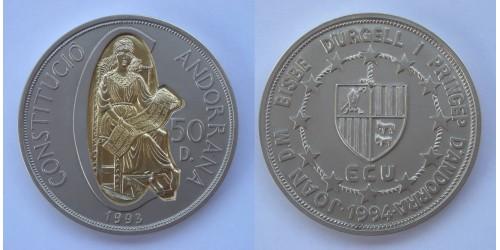 """Андорра. 50 динеров 1994 года. """"Годовщина конституции"""". Биметалл. Тираж 5000 шт."""