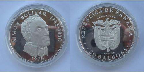 """Панама. Серебро.  20 бальбоа 1975 года. """"Боливар"""". Proof. В оригинальной капсуле."""