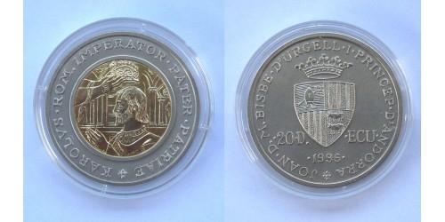 """Андорра. 20 динеров 1996 года. """"Коронация Карла Великого"""". Биметалл. Тираж 5000 шт."""