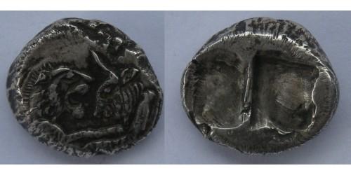 Лидия, Сарды. Цари Лидии. AR статер 550/39-520 гг. до Р.Х. Вес 10,45 грамма. Редкий.
