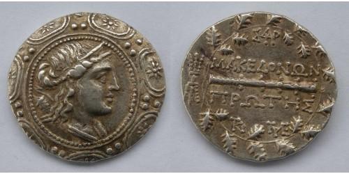 Македония под римским протекторатом, 165-150 годы до Р. Х., тетрадрахма. Вес 17,02 грамма. Диаметр 32 мм.