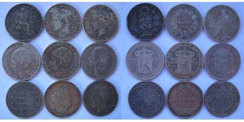 Подборка из 9 монет 19го, первой половины 20го веков. Серебро.