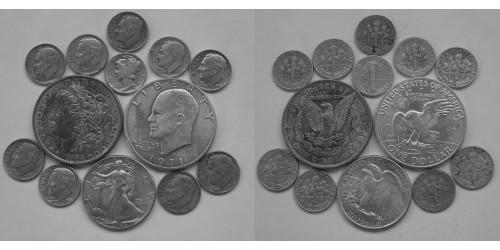 США. Серебро. Подборка монет 13 шт. VF-UNC.