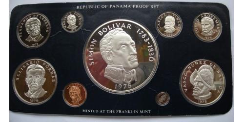 Панама. Серебро. Набор из 9 монет 1975 года. Proof. В оригинальной упаковке.