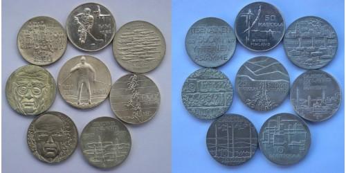 Финляндия. Серебро. Подборка из 8 монет. UNC.