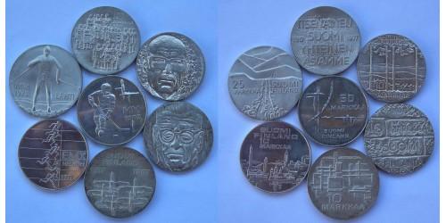 Финляндия. Серебро. Подборка из 7 монет. UNC.