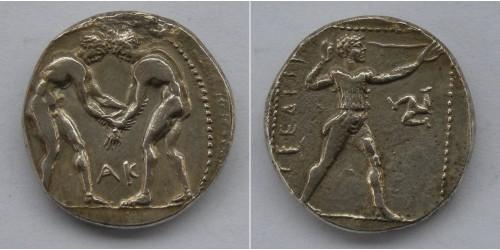 Памфилия, Аспенд, AR статер 420-370 гг. до  Р.Х. Вес 10,83 грамма. Диаметр 22 мм.