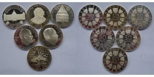 Австрия. Серебро. Подборка из 6 монет по 50 шиллингов. Proof. Все монеты разные.