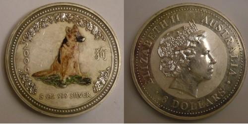 """Австралия. 8 долларов 2006 года. """"Год собаки"""". В оригинальном футляре. Серебро. 5 унций."""
