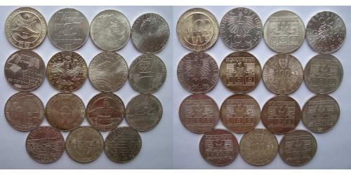 Австрия. Серебро. 15 монет по 100 шиллингов 1975-1979гг. XF-UNC. Все монеты разные.