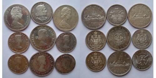 Подборка североамериканских монет. Серебро. 9шт. XF-UNC.