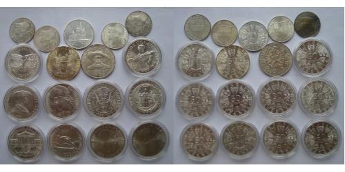 Австрия. Подборка из 17 монет. Серебро. 12 монет по 50 шиллингов, 25 шиллингов и 4 монеты по 10 шиллингов.
