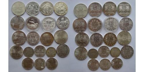 Австрия. Серебро. Подборка монет. 100 шиллингов 7шт. 50 шиллингов 7 шт. 25 шиллингов 4шт. 10 шиллингов 2 шт.