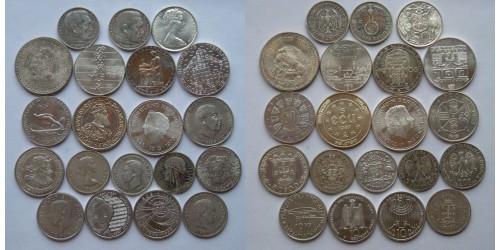 Серебро. Подборка иностранных монет 20 шт. VF-UNC.