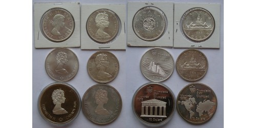 Канада. Серебро. Подборка из 6 монет.