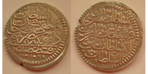 Турция. Мустафа II. 1 куруш 1695 года. 1106 год Хиджры. Вес 19,80 грамм. Диаметр 35 мм.