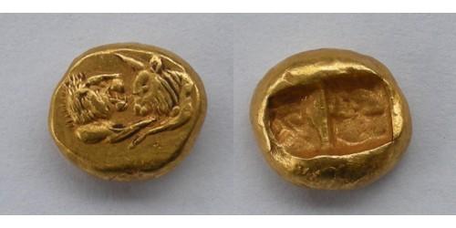 Лидия, Сарды. Крез. AV 1/3 статера, 561-546 гг. до Р.Х. Вес 2,70 грамма. Редкая.
