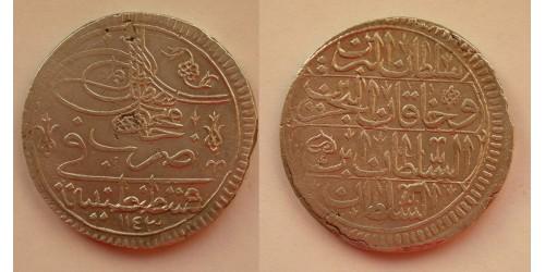 Турция. Махмуд I. 1 куруш 1730 года (1143 год Хиджры). Вес 26,24 грамм.