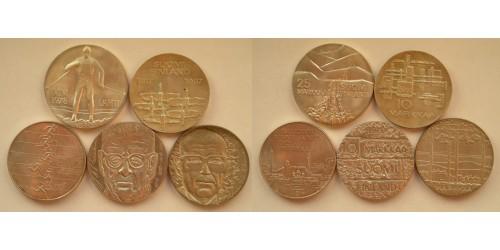 Финляндия. Серебро. Подборка из 5 монет. XF-UNC.