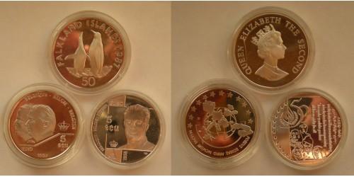 Бельгия 5 экю 1997 и 1998 гг. Фолклендские о-ва 50 пенсов 1987 года. Серебро. Proof.