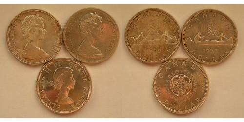 Канада. Серебро. 1 доллар 1964, 65, 66 гг.