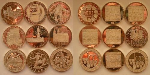 Австрия. Серебро. Подборка монет по 100 шиллингов. 9 шт. Proof. Все монеты разные.