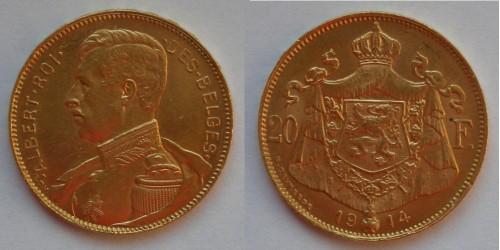 Бельгия. Альберт I. 20 франков 1914 года. Золото. Штемпельный блеск.