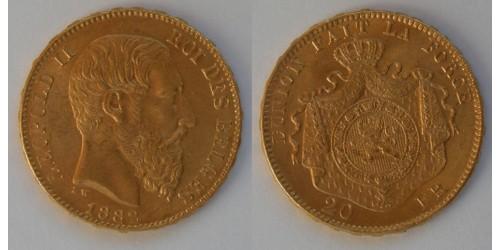 Бельгия. Леопольд II. 20 франков 1882 года. Золото. Штемпельный блеск.