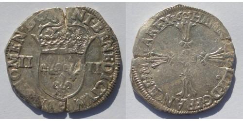 Франция. Генрих IV. 1/4 экю 1605 года. Ренн. Вес 9,6 грамм.