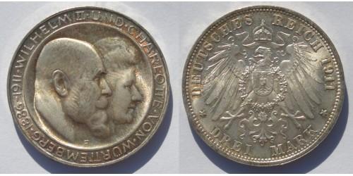 Германия. Вюртемберг. Вильгельм II . 3 марки 1911 года. Штемпельный блеск.