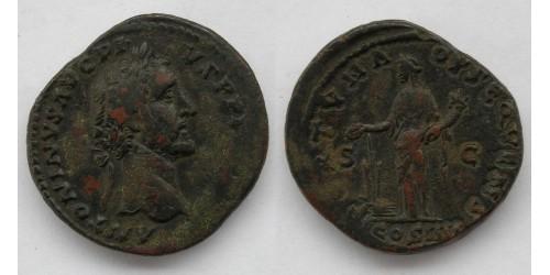 Римская империя. Антонин Пий, 138-161 годы, AE сестерций. Вес 25,55 грамма. Диаметр 33 мм.