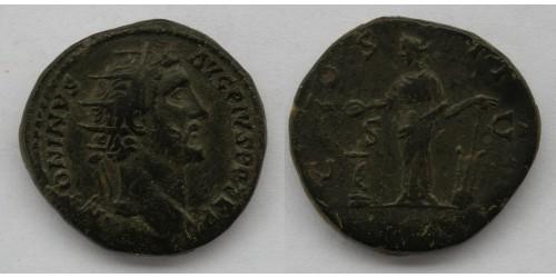 Римская империя. Антонин Пий,  138-161 годы, AE дупондий. Вес 12,67 грамма. Диаметр 27 мм.