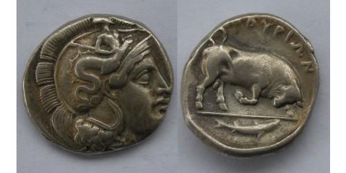 Лукания, Фурии, AR дидрахма , 400-350 гг. до Р. Х. Вес 7,75 грамма. Диаметр 21 мм. Редкая.