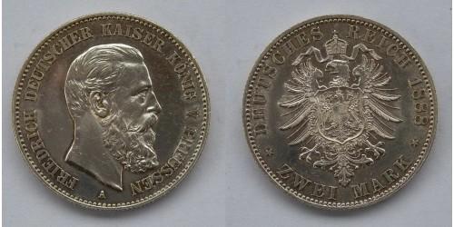 Пруссия. Фридрих III. 2 марки 1888 года. Серебро. Яркий штемпельный блеск.