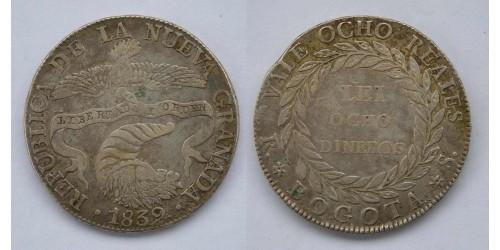 Колумбия. Новая Гранада.  Богота. 8 реалов 1839 года. Вес 23,50 грамм.