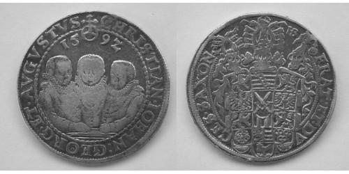 Германия. Саксония. 1 талер 1592 года. Вес 28,63 грамма. Диаметр 40,5 мм.