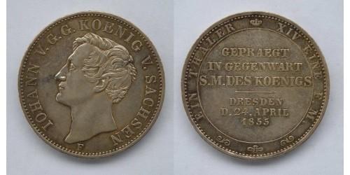 Германия. Саксония. 1 талер 1855 года. Тираж 5250 шт. Отличное состояние.