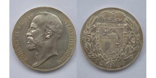 Лихтенштейн. Иоганн II. 5 крон 1900 года. Вес 23,84 грамма. Тираж 5000 шт. Отличное состояние.