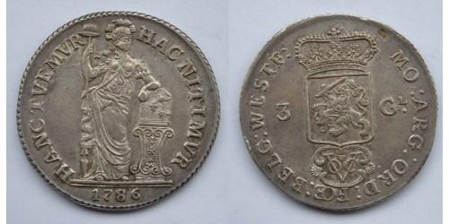 Индонезия. Нидерландская Ост-Индия. 3 гульдена 1786 года. Серебро. Вес 31,41 грамм. Редкая.