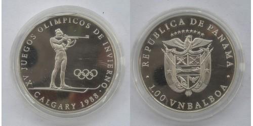 Панама. 1 бальбоа 1988 года. Платина. Proof. Вес 19,90 грамма. Тираж 15 шт.