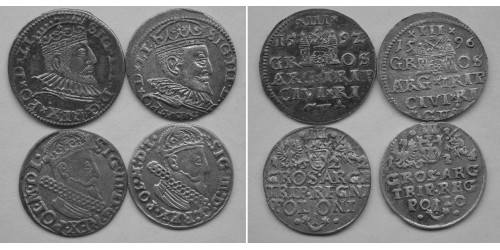 Речь Посполита 3 гроша. 4шт. Сигизмунд III Ваза.
