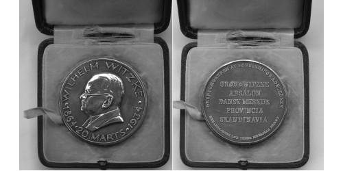 Юбилейная наградная медаль Вильгельма Витцке 1864-1934 гг. Серебро. Вес 97 грамм.