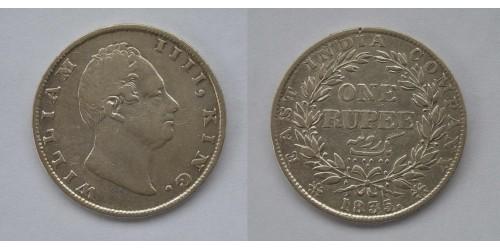 Британская Индия. 1 рупия 1835 года. Серебро.