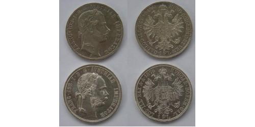 Австрия, Франц Иосиф I, 1 флорин 1861г. и 1 флорин 1875г.  XF-UNC.