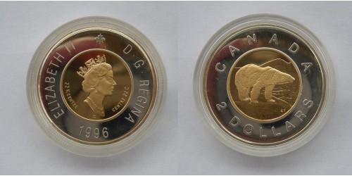 "Канада. Елизавета II. 2 доллара 1996 года. ""Полярный медведь"". Биметалл. Proof. Тираж 5000 шт."
