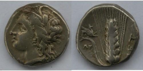 Лукания, Метапонт, около 300 года до Р. Х., дидрахма. Вес 7,84 грамма. Диаметр 21 мм.