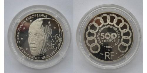 Франция. Платина. 500 франков-70 экю 1992 года. Proof. Вес 20,00 грамм. Тираж 2000 шт.