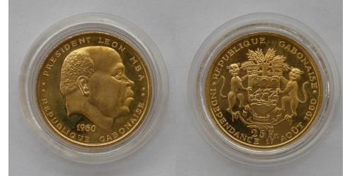 Габон. 25 франков 1960 года. Proof. Золото. Тираж 500 шт.