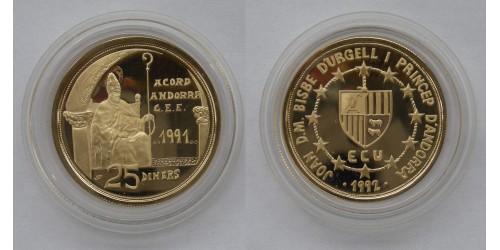 Андорра. 25 динеров 1991 года. Proof. Золото. Тираж 3000 шт. В оригинальной капсуле.